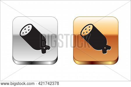 Black Salami Sausage Icon Isolated On White Background. Meat Delicatessen Product. Silver And Gold S