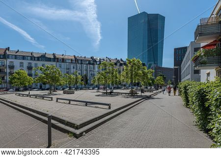 Frankfurt Am Main, Germany-june 02, 2020: View Of Paul Arnsberg Square And The European Central Bank