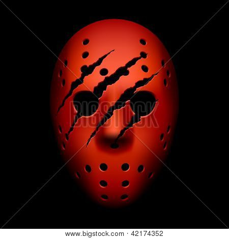 Red hockey mask with traces of claws. Vector.