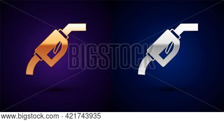 Gold And Silver Gasoline Pump Nozzle Icon Isolated On Black Background. Fuel Pump Petrol Station. Re