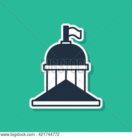 Blue White House Icon Isolated On Green Background. Washington Dc. Vector