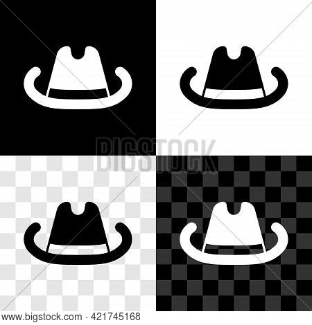 Set Western Cowboy Hat Icon Isolated On Black And White, Transparent Background. Vector