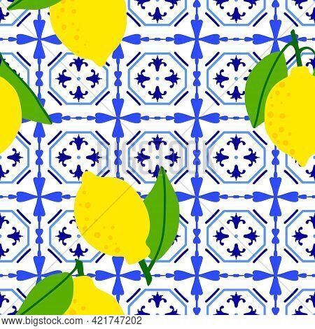 Lemon Pattern. Citrus Fruit On Ceramic Tile Pattern Made In Mediterranean Style Inspired By Portugue