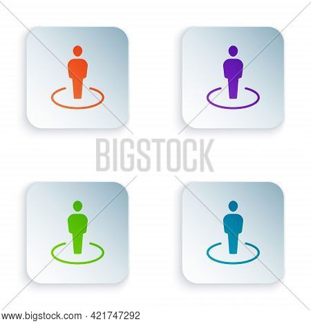 Color Map Marker With A Silhouette Of A Person Icon Isolated On White Background. Gps Location Symbo