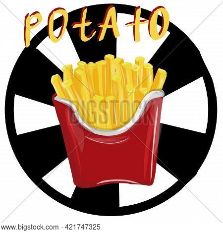 French Fries. Hand Drawn Vector Illustration Of French Fried Potatoes In Paper Box.