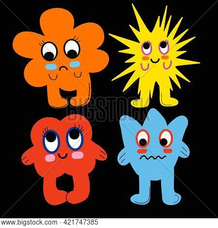 Cartoon Monsters Set. Colorful Toy Cute Monster. Flat Vector Collection. Vector Illustration Eps10