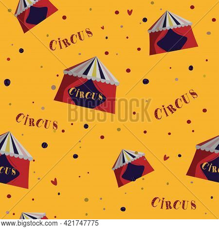 Retro Circus Pattern,seamless, Red Circus Tent On Yellow. Great For Textile, Wrapping
