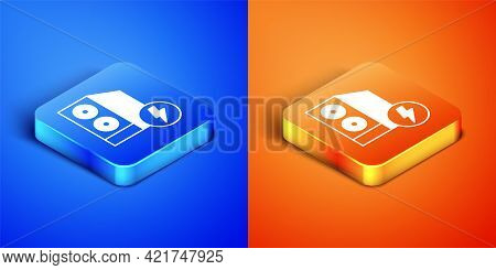 Isometric Case Of Computer Icon Isolated On Blue And Orange Background. Computer Server. Workstation
