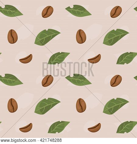 Seamless Pattern With Coffee Beans In Flat Cartoon Style.