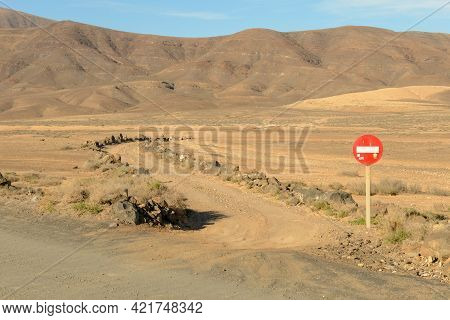 Rural Road With No Access At Lanzarote Island, Spain
