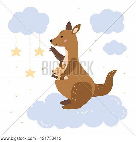Mother Kangaroo With Her Baby Kangaroo On Clouds. Cute Cartoon Animals Character. Hand Drawn Doodle