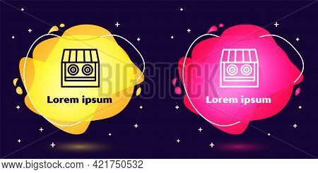 Set Line Shooting Gallery Icon Isolated On Blue Background. Shooting Range. Abstract Banner With Liq