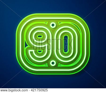 Glowing Neon Line 90s Retro Icon Isolated On Blue Background. Nineties Poster. Vector