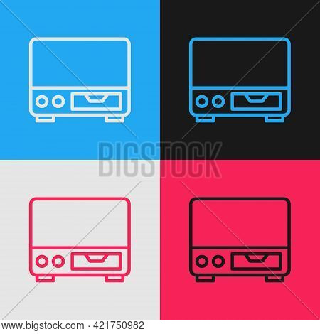 Pop Art Line Old Video Cassette Player Icon Isolated On Color Background. Old Beautiful Retro Hipste