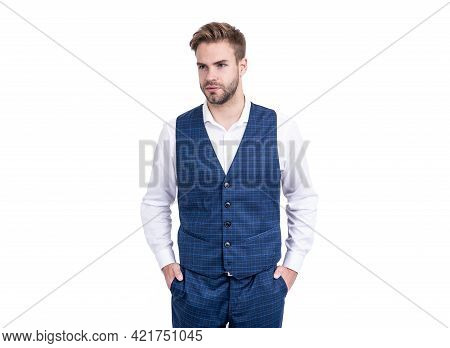 A Master Of Style. Stylish Man Isolated On White. Wearing Formal Style. Formalwear