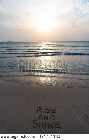 Rise And Shine. Early Morning, Sunrise Over Sea. Ocean Sunset On Sea Water With Sunset Sky.
