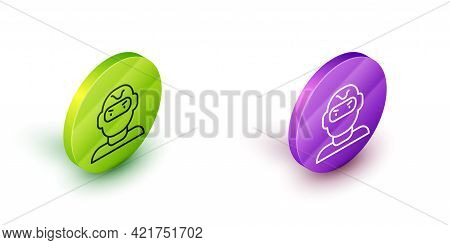 Isometric Line Thief Mask Icon Isolated On White Background. Bandit Mask, Criminal Man. Green And Pu