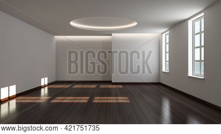 Empty Interior With Two Windows, White Plastered Walls, Cornice Lighting And Dark Parquet Floor Lit