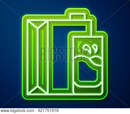 Glowing Neon Line Paper Package For Milk And Glass Icon Isolated On Blue Background. Milk Packet Sig