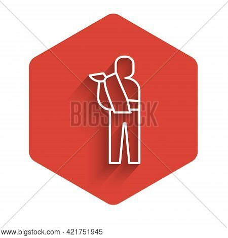 White Line Human Broken Arm Icon Isolated With Long Shadow. Injured Man In Bandage. Red Hexagon Butt