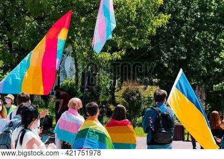Lgbt And Transgender Protest In Ukraine. Ukrainian Flag. Transsexuality. Transexual. Movement. Strik