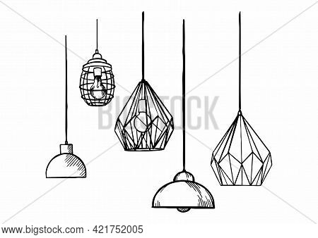A Series Of Loft-style Vector Images Of Lamps