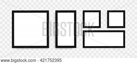 Blank Photo Frames Mockup Set. Black Frames Set In Realystic Style On Transparent Background. Modern