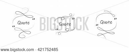 Line Quote Frames Set Vector Icon Set. Quote Box Hand Drawn Collection. Quotation Frame, Box, Banner