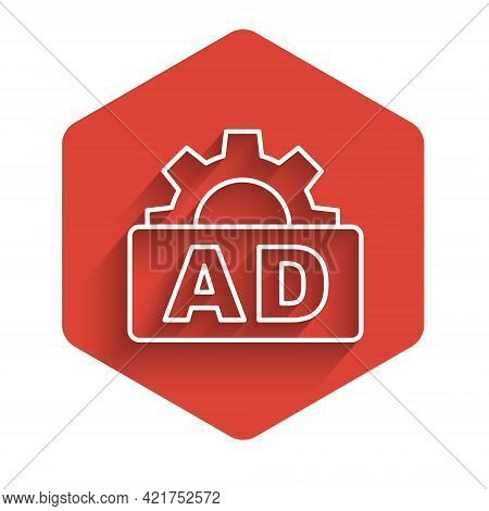 White Line Advertising Icon Isolated With Long Shadow. Concept Of Marketing And Promotion Process. R