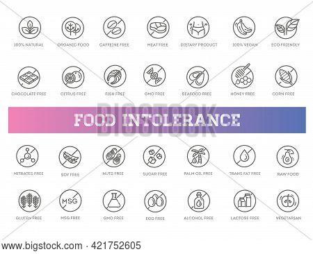 Allergen Ingredients Vector Icons. Product Free Allergen Ingredient Symbols