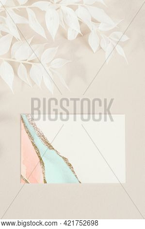 Business card with decorated branches mockup