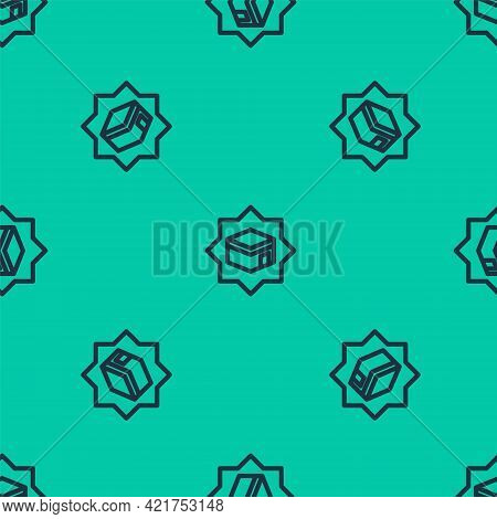 Blue Line Kaaba Mosque Icon Isolated Seamless Pattern On Green Background. Kaaba Hajj Mecca Pray Pil