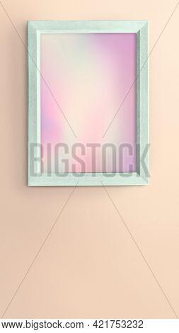 Green photo frame mockup on pink background