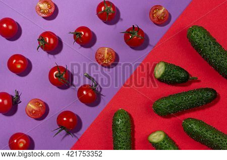 Vegetable Colorful Abstract Pattern - Ripe Cherry Tomato, Green Young Cucumber With Shadow Whole, Sl