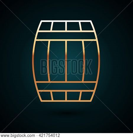 Gold Line Wooden Barrel Icon Isolated On Dark Blue Background. Alcohol Barrel, Drink Container, Wood