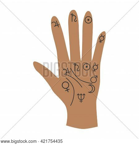 Esoteric Symbol. Mystical And Magical Design With Hand Palmistry, Planets