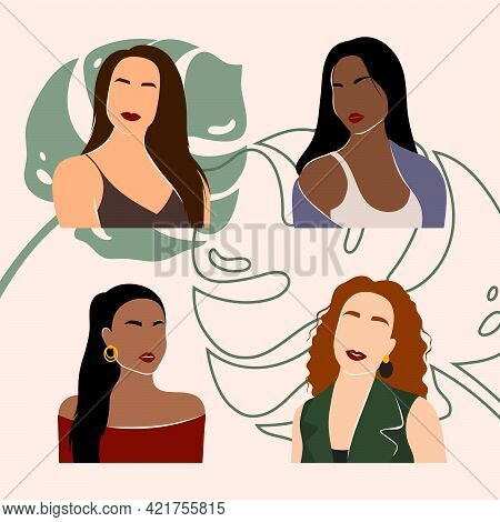 Abstract Woman Portraits. Set Of Female Silhouettes. Minimal Portrait Of Girls Face To Face. Concept