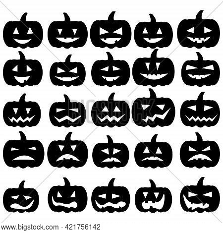 Set Of Pumpkin Silhouettes With Different Facial Expressions, Halloween Themed Pumpkins Jack Lantern