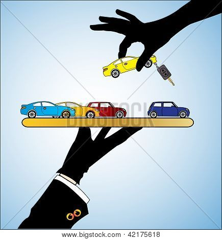 Illustration Of Car Sale - A Customer Choosing A Car Of His/her Choice From Different Types Of Cars
