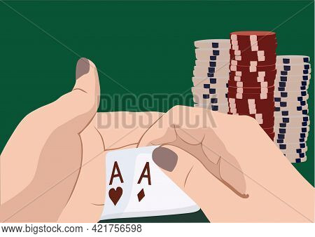 Hand With Two Aces Isolated On Background. Casino Player.