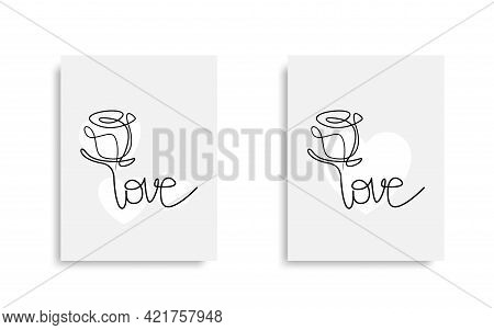Love One Line Drawing Design. Love, Continuous Line Drawing. Cover Poster Design. Banner,poster Temp