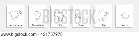 World Map Continents One Line Drawing Isolated Vector Posters Set . Continuous Line World Continents
