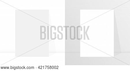 Blank Poster Template On White And Grey Background For Paper Design. Postr Mockup. Empty Paper Mocku