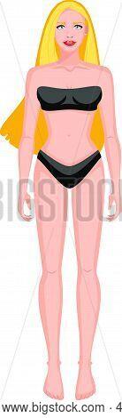 Blonde Girl In Full Height, In Black Underwear