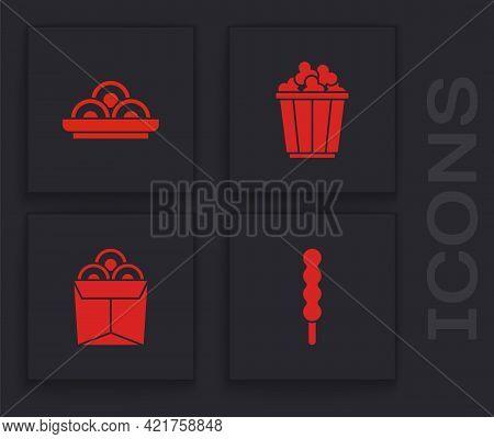 Set Lollipop, Asian Noodles In Bowl, Popcorn Box And Noodles Icon. Vector