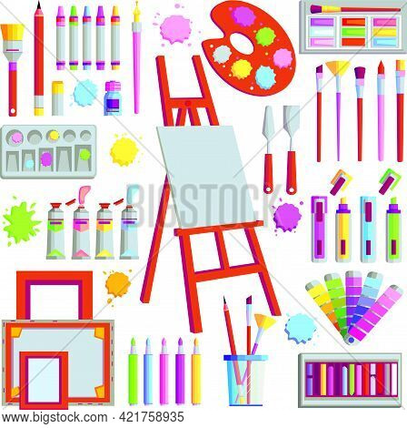 Painter Art Tools. Vector Watercolor Painting Design Artists Supplies, Easel And Palette, Painting B