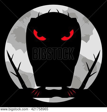 Monster Vampire With Scary Bloody Eyes And Sharp Claws On Night Background And Of A Large Pale Moon.