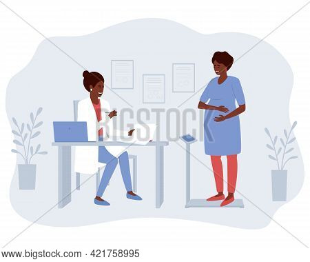 A Pregnant African American Woman At The Reception Of An Obstetrician-gynecologist Determines Her We