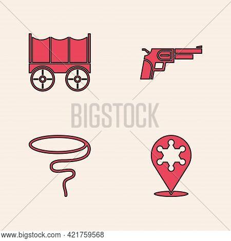 Set Hexagram Sheriff, Wild West Covered Wagon, Revolver Gun And Lasso Icon. Vector