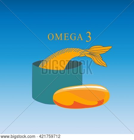 Vector Logo Design Of Omega-3, Fish Oil. A Yellow Capsule Of An Omega-3 Dietary Supplement On A Fish